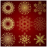 Collection of gold winter snowflakes. Christmas background - HAPPY NEW YEAR Royalty Free Stock Image