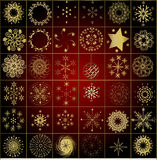 Collection of gold winter snowflakes. Christmas background - HAPPY NEW YEAR Royalty Free Stock Photography