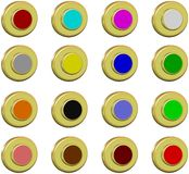 Collection golden buttons, 2d Royalty Free Stock Image