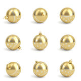 Collection of golden christmas balls. White isolated. 3D render Stock Photo
