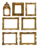 Collection of golden frames Stock Photography