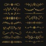 Collection of golden hand drawn flourish text dividers. Doodle gold botanical borders for typography design, invitations, greeting cards. Calligraphic and Stock Photos