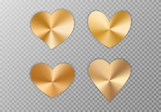 Collection of golden hearts. A collection of hearts with a golden metallic texture for a romantic greeting design for Valentine`s Day, design cards for Mother`s stock illustration