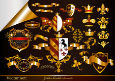 Collection of golden heraldic elements vector illustration