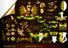 Collection of golden heraldic elements Stock Photography