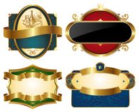 Collection of golden ornate labels Stock Photography