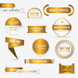 Collection of golden premium promo seals/stickers. Stock Image
