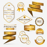 Collection of golden premium promo seals/stickers. Stock Photos