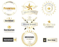 Collection of golden premium promotion seals and banner Stock Image