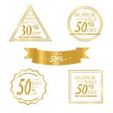 Collection of golden Sale Discount. Vector. Collection of golden Sale Discount icons. Original Banners, Labels, Emblems. Sale, big sale 50 30 discount Flat Stock Photo