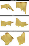 A collection of golden shapes from australian states South Australia, Victoria, Western Australia stock illustration