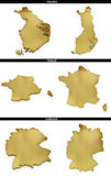 A collection of golden shapes from the European states Finland, France, Germany Stock Images