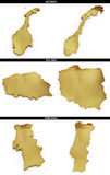 A collection of golden shapes from the European states Norway, Poland, Portugal Royalty Free Stock Image