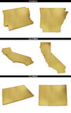A collection of golden shapes from the US American states Arkansas, California, Colorado Stock Images