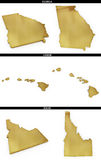 A collection of golden shapes from the US American states Georgia, Hawaii, Idaho Stock Photos