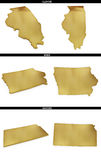 A collection of golden shapes from the US American states Illinois, Iowa, Kansas. A collection of photo realistic shapes from the US American states Illinois Stock Photo