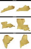 A collection of golden shapes from the US American states Kentucky, Louisiana, Maine Stock Photo
