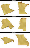 A collection of golden shapes from the US American states Minnesota, Mississippi, Missouri. A collection of photo realistic shapes from the US American states Royalty Free Stock Images