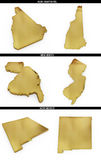 A collection of golden shapes from the US American states New Hampshire, New Jersey, New Mexico Royalty Free Stock Photography