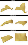 A collection of golden shapes from the US American states New York, North Carolina, North Dakota Royalty Free Stock Image