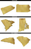 A collection of golden shapes from the US American states Pennsylvania, Rhode Island, South Carolina Stock Photography