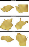 A collection of golden shapes from the US American states Washington, West Virginia, Wisconsin Stock Image