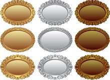 Badges. Collection of golden, silver and bronze badges - design elements Royalty Free Stock Photography