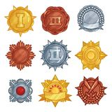 Collection of golden, silver and bronze medals or badges in different shapes. Vector flat set. Collection of golden, silver and bronze medals in different shapes Royalty Free Stock Image