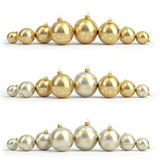 Collection of golden and silver christmas balls. White . 3D render Royalty Free Stock Images