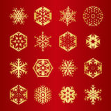 Collection of 16 golden snowflakes. In different shapes Stock Photo