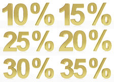 A collection of golden symbols for10, 15, 20, 25, 30, 35 %. A collection of very high quality renderings for a symbol for 10, 15, 20, 25, 30, 35 % discount or Royalty Free Stock Image