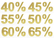 A collection of golden symbols for 40, 45, 50, 55,60,65 Stock Photos