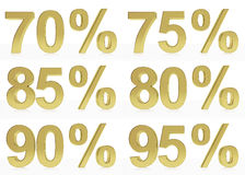 A collection of golden symbols for 70, 75, 80, 85, 90, 95 % Stock Photography
