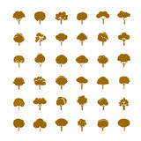 Collection of Golden Trees. Vector icons. Stock Photography