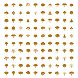 Collection of Golden Trees. Vector icons. Stock Images