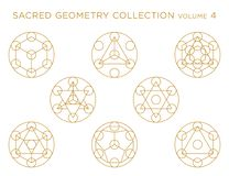 Sacred Geometry Vector Collection - Golden isolated on white stock illustration