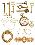 Collection of golden vintage accessories Royalty Free Stock Photography
