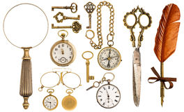 Collection of golden vintage accessories and antique objects stock photo