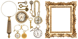 Collection of golden vintage goods frames objects Stock Photos
