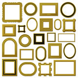 Collection of golden vintage picture frames Royalty Free Stock Photography