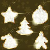 Collection of golden winter labels Royalty Free Stock Images