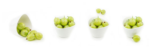 Collection of gooseberries in bowls Stock Image