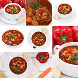 Collection of goulash soup soups with meat and paprika in bowl Royalty Free Stock Image