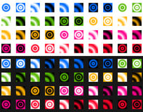 Collection of gradient templates over white and black. Color pal Stock Image