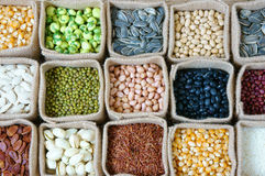 Collection of grain, cereal, seed, bean Royalty Free Stock Photography