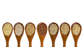 Collection of grains in wooden spoon Royalty Free Stock Photos