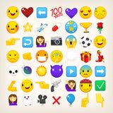 Collection of graphic emoticons, signs and symbols used in online chats. Cartoon style vector icons. Cute and funny characters and emojis. List of popular Stock Images