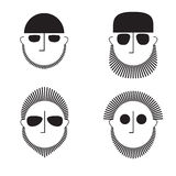 A collection of graphic images of heads of men with a beard in sunglasses. Avatar, icon, symbol. Royalty Free Stock Image