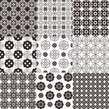 Collection of graphical vector seamless patterns. Abstract geometric wallpapers. Ornamental decorative background for cards, invitations, web design Stock Images