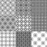 Collection of graphical vector seamless patterns Stock Photography